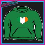 IRELAND IRISH FLAG HEART SHAPED LOVE RUGBY  HOODY HOODIE ALL SIZES & COLOURS